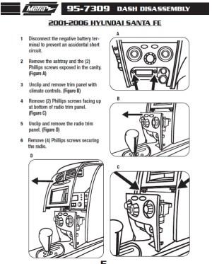 2005HYUNDAISANTA FEinstallation instructions