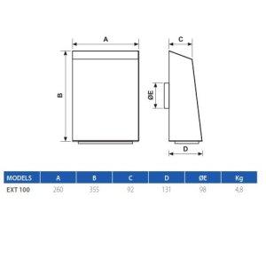 Dimensioni ELICENT 2EX4034 - EXT 100