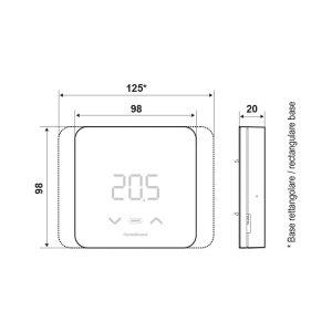 Cronotermostato elettronico led - funzioni smart - Fantini Cosmi C800WIFIPRO - completo di kit alimentazione e basi rettangolare e quadrata.-dimensioni