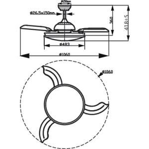 Ventilatore da soffitto con Luce Led - Philips Atlas AC Nickel - Dimensioni