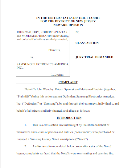 10-19: Class action lawsuit is filed against Samsung over