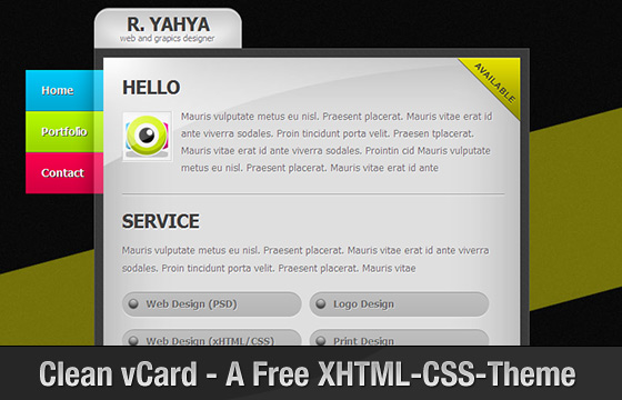 Clean vCard - Free Professional vCard Template