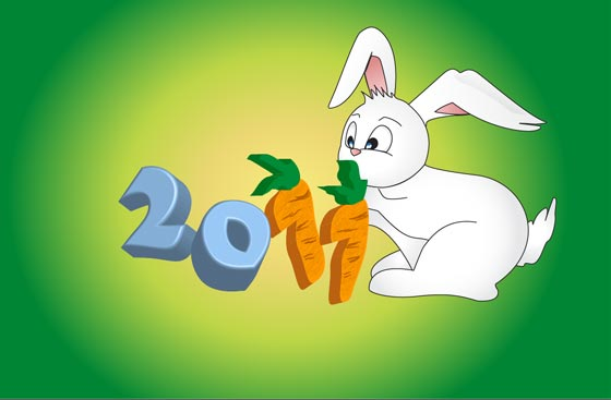 Create a Cute Bunny Character for Chinese New Year