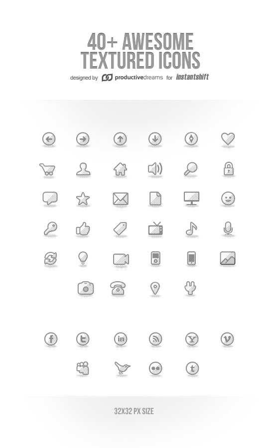 Awesome Textured Icons Set