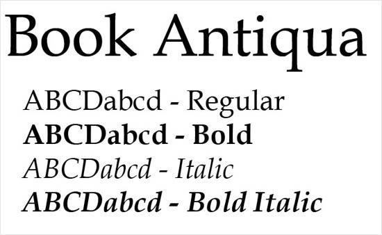 instantShift - Book Antiqua font family