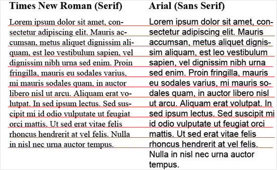 instantShift - Times New Roman and Arial font comparison