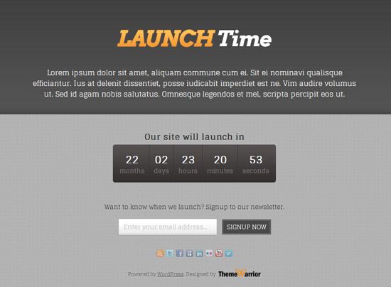 LauchTime - A Free WordPress Coming Soon Theme