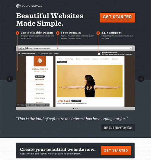 instantShift - Landing Page of Squarespace