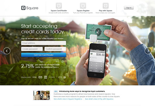 instantShift - Landing Page of Squareup