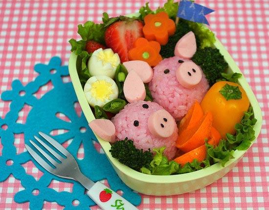 Pink piggies bento
