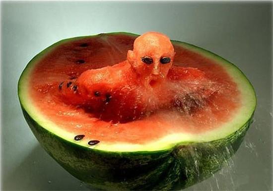 Food Art - Swimmer In Watermelon
