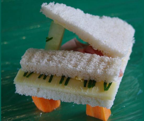 Food art. Grand piano sandwich