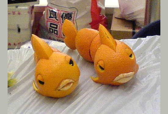 Orange art food exhibition