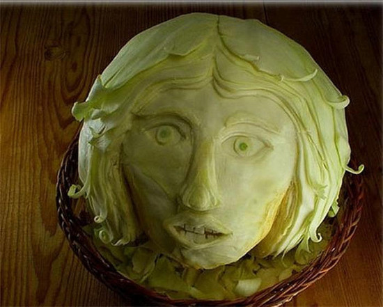 Food Art - Head Carved From Sprout