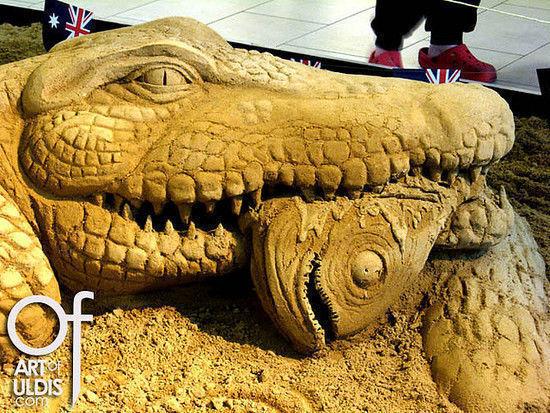 Crocodile, sand sculpture DK09-1,5 Uldis Zarins
