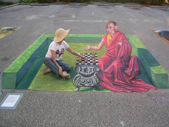 3D Street Painting - Chess with the Dalai Lama