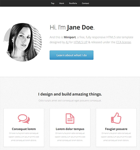 Miniport - Free Responsive HTML5 Template