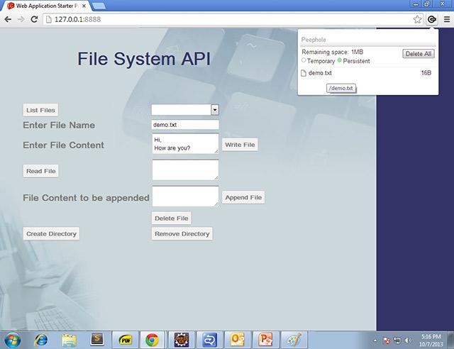 Creation of demo.txt file