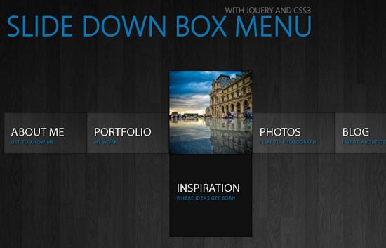 Slide Down Box Menu with jQuery and CSS3
