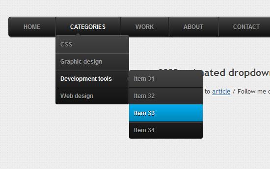 CSS3 animated dropdown menu