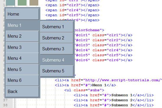CSS3 vertical multicolor 3D menu