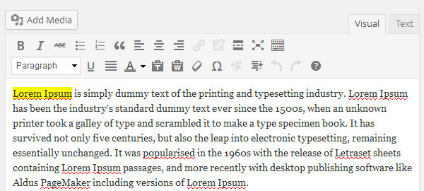 Inline Styling for Text Highlighting in WordPress