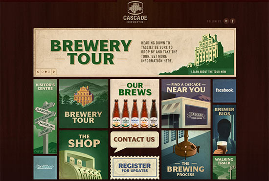 Illustration in Web Design - Cascade Brewery Co