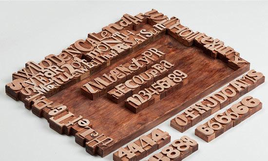 Wooden letterpress calendar