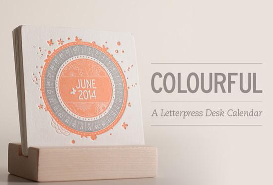 Colorful Letterpress Desk Calendar
