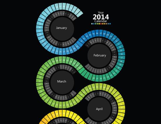 2014 Swirl Spectrum Calendar