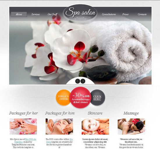 Free Website Template for Spa Salon with jQuery Slider and Zoomer Effect