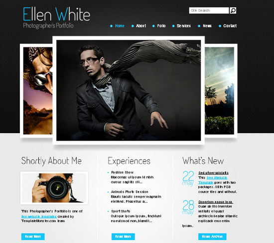 Free Website Template. Start Photographer's Portfolio!