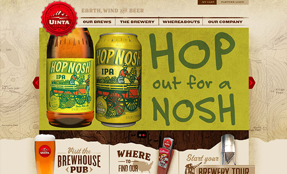 instantShift - Uinta Brewing Website with Map Texture on the Background