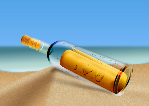 Create a Message in a Bottle in Illustrator - Final Result
