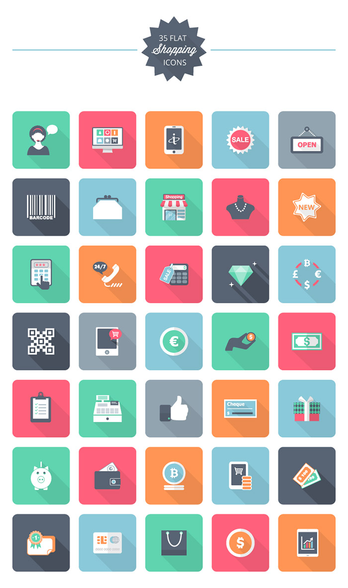35 Flat Shopping Icons pack