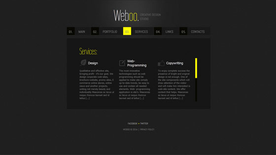 Black Monochromatic Website Design with Yellow Accents