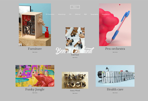 Benoit Challand Website with Differently Sized Images on a Catalog
