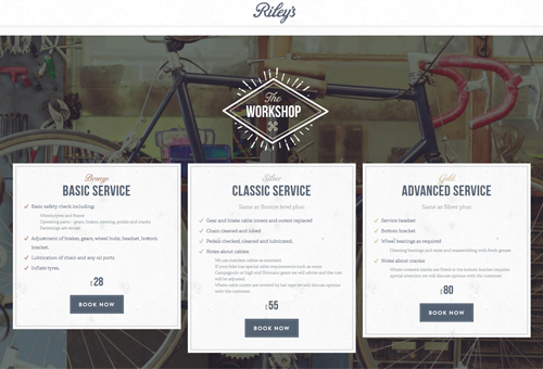 Riley's Cycles Website with Diamond Icons and Circular Images