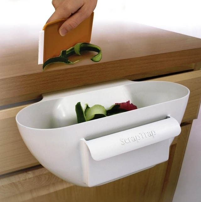 The Scrap Trap to keep kitchen counter tops tidy.