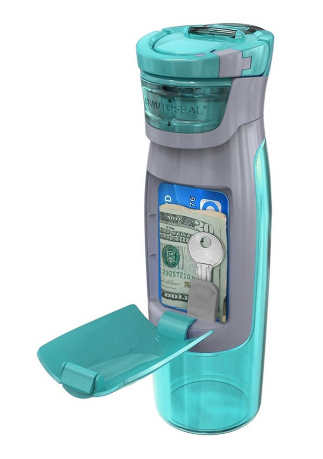 This creative water bottle wallet makes it easy to hide and carry your money and keys.