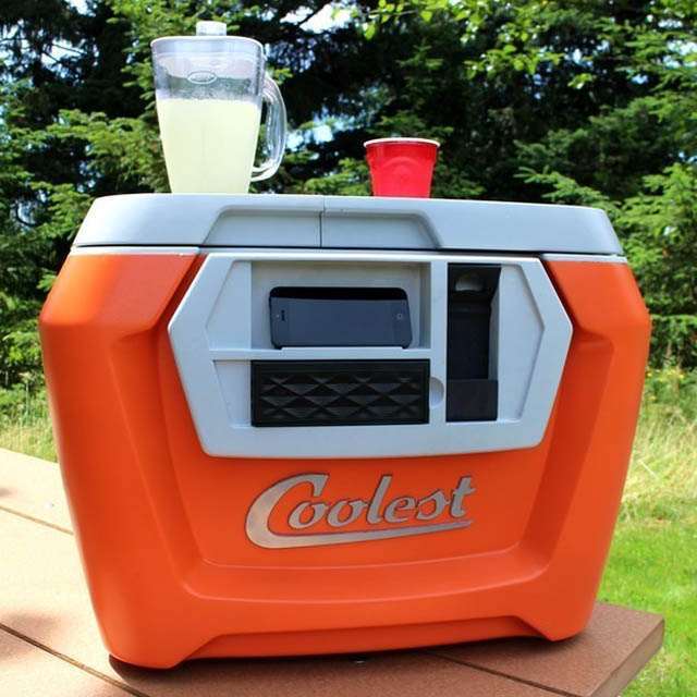 The ultimate party cooler complete with a smart phone charger, bottle opener, and a blender.