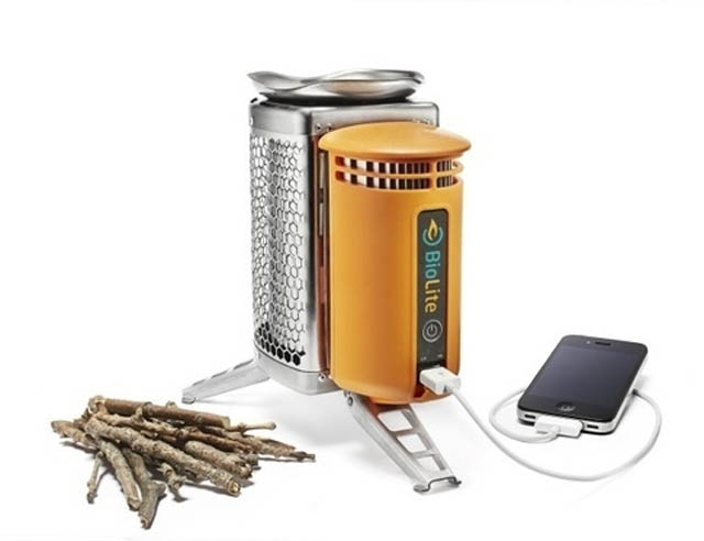 Biolite camping stove uses the heat from burning wood to generate usable electricity via USB.