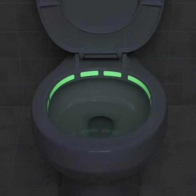 A toilet rim that glows in the dark. This should keep things tidy when the lights go out.