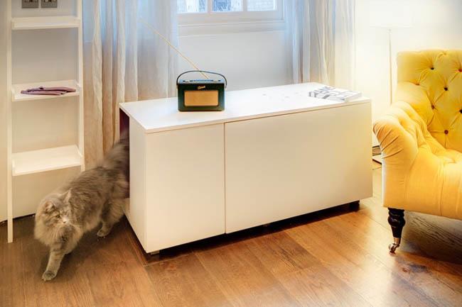 Cat Litter Box Inside A Living-room Table
