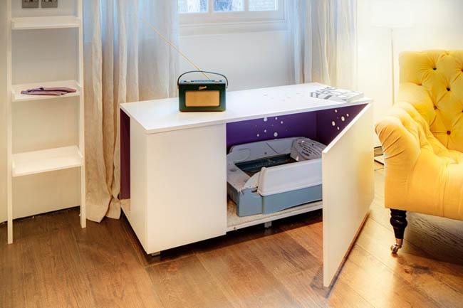 Creative Space-Saving Furniture Design - Cat Litter Box Inside A Living-room Table