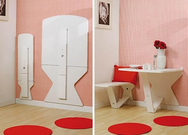 Creative Space-Saving Furniture Design - Folding Dining Room
