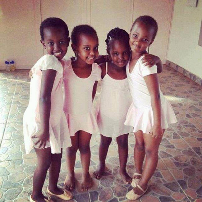 Classical ballet students at rehearsal in Rwanda's only classical ballet school.