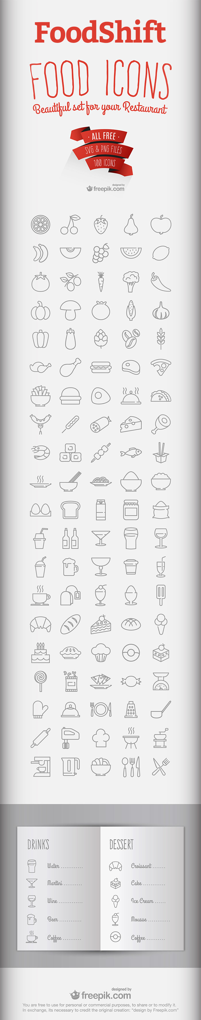 FoodShift - Free Food & Drink Icon Set