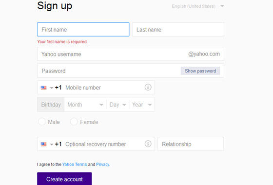 Excellent Sign Up Forms - Yahoo