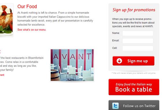 Excellent Sign Up Forms - AVANTI